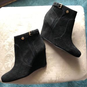 Tory Burch Black Suede Wedge Bootie NEW 5.5
